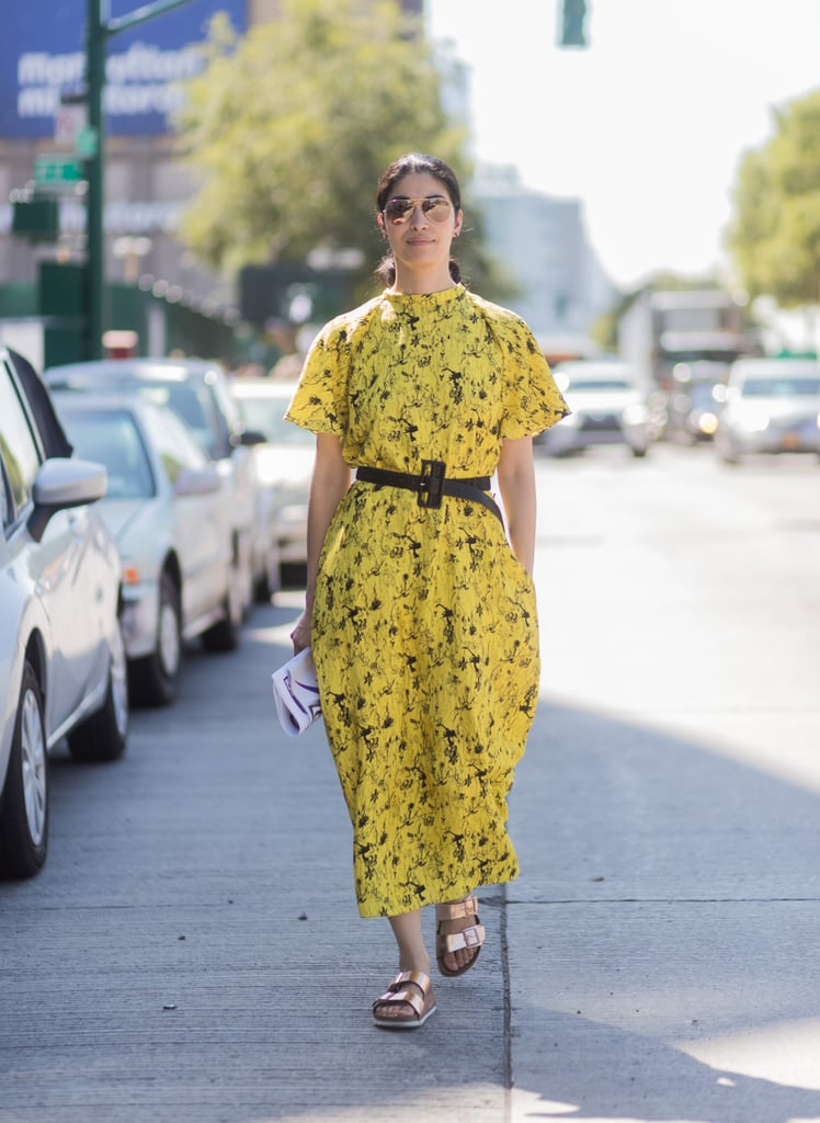 Wear Your Brightest Floral Dresses With Metallic Sandals
