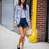 Polish up your short shorts with a tweedy blazer and flats.