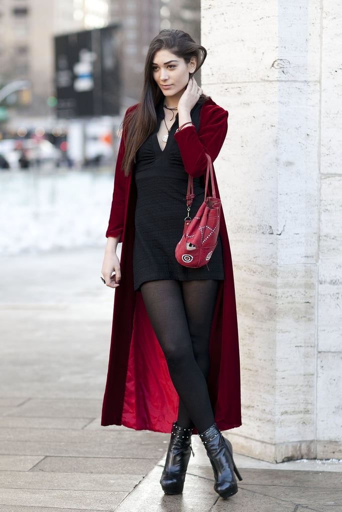 A maroon coat lent a moodier feel to a black mini and tights.