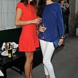 Valentina Scambia and Natalie Dompe at a dinner for L'Officiel Hommes Paris in Milan.