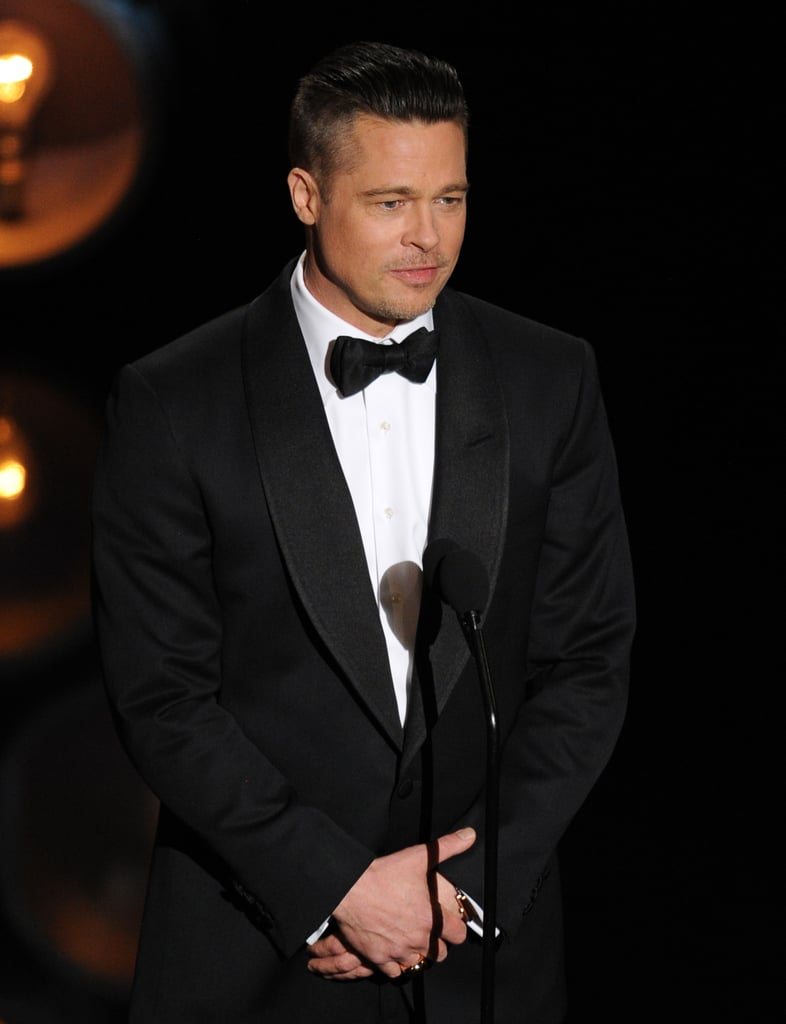 Brad Pitt looked at the crowd as he presented.