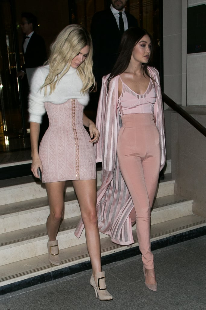 Gigi Hadid and Kendall Jenner Pink Balmain Outfits in Paris