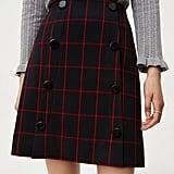 LOFT Plaid Modern Buttoned Skirt