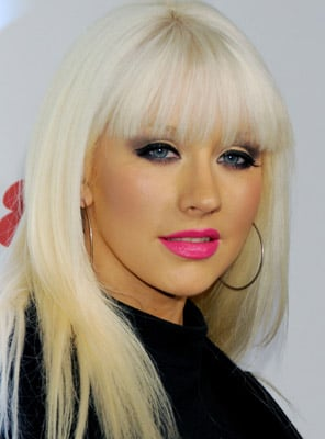 Christina Aguilera With Bright Pink Lipstick