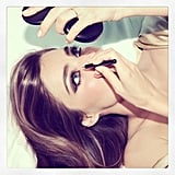 Miranda Kerr gave herself a touch-up on set. Source: Instagram user mirandakerr