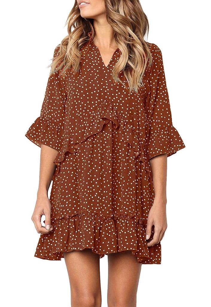 Mitilly Polka-Dot Pocket Casual Dress