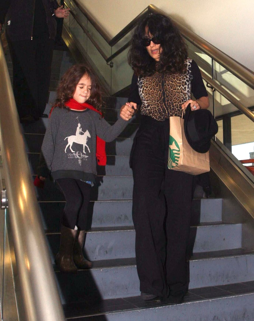 Salma Hayek and Valentina arrived on a flight into LAX.