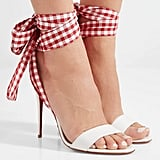 Christian Louboutin Sandale Du Desert Leather and Gingham Canvas Sandals