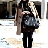 Classic pieces like a camel coat and luxe black bag always work, while a knee-high boot is the perfect warm and cute choice for a chilly Winter.