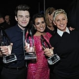 Chris Colfer, Lea Michele, and Ellen DeGeneres