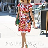 Taylor Swift looked ready for Summer in a colorful ensemble in NYC on Friday.