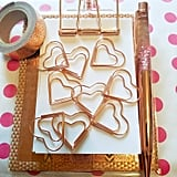 Rose Gold Heart Paper Clips