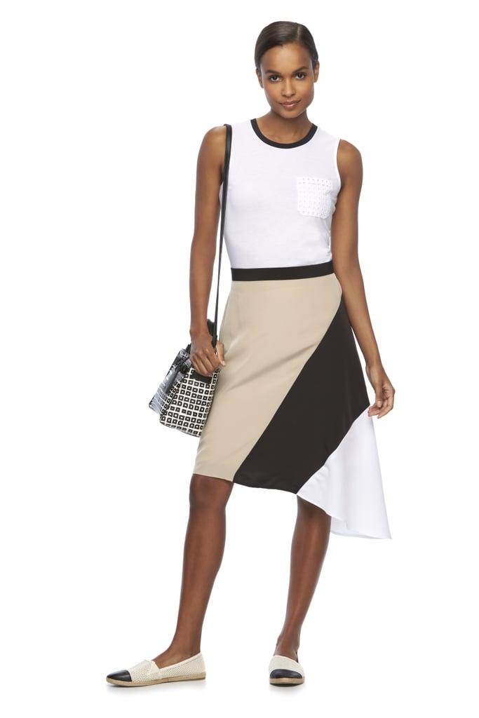 Eyelet Pocket Tank ($38), Asymmetrical Colorblock Skirt ($54), and Box Clutch Crossbody Bag ($59)