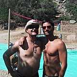 """Dave: """"#TBT Rafting trip with my bro @JohnStamos — See my standup @AndiamoItalia on Saturday. I'll be wearing a shirt."""""""