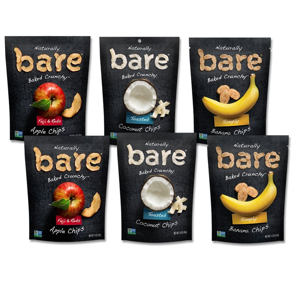 Bare Baked Crunchy Apple Chips, Banana Chips, and Coconut Chips
