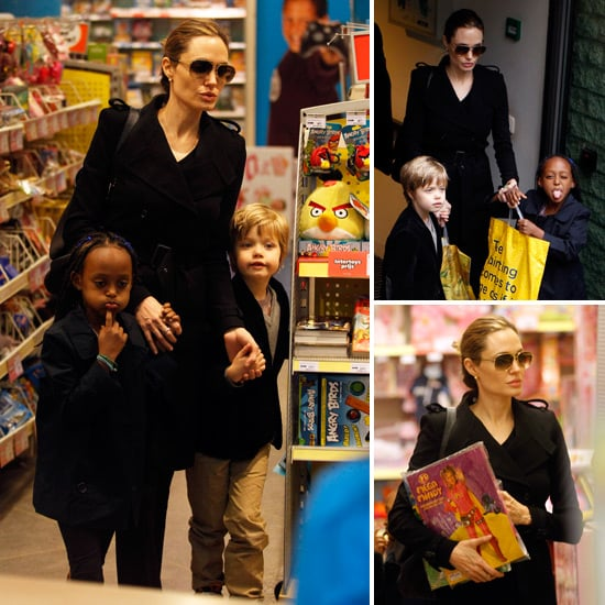 Angelina Jolie Toy Shopping Pictures in Amsterdam With Shiloh and Zahara
