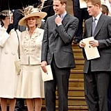 The trio stood together on the steps of St. George's Chapel following the Thanksgiving service for the queen's 80th birthday in April 2006.