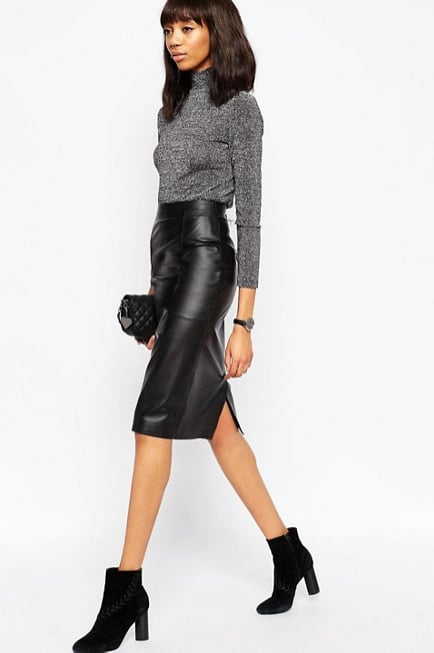 ASOS Midi Pencil Skirt in Leather ($128)