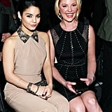 Vanessa Hudgens and Katherine Heigl smiled at the Jenny Packham show during Fashion Week in NYC on Tuesday.