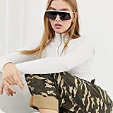 ASOS DESIGN Flared Flat Lens Visor Sunglasses