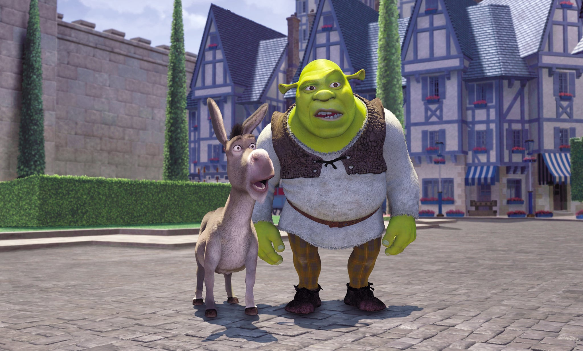 SHREK, Eddie Murphy as Donkey, Mike Myers as Shrek, 2001. DreamWorks/courtesy Everett