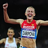 Russian runner Yuliya Zaripova was overwhelmed with joy after crossing the finish line to win the gold medal in the women's 3000m steeplechase final.