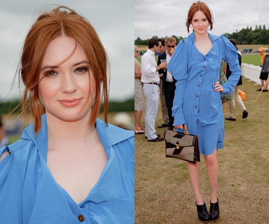 Photos of Karen Gillan at the Veuve Clicquot Gold Cup Final in Blue Dress and Ankle Boots