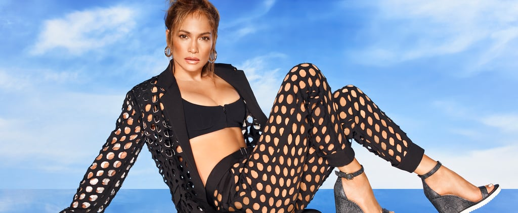 J Lo Wearing a Black See-Through Net Suit For DSW Campaign