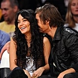 Zac whispered sweet nothings into Vanessa's ear when they caught a basketball game in December 2008.