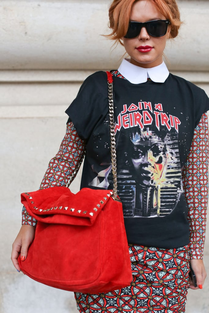 A vibrant red tote brought out the colors in this styler's t-shirt and Carven dress.