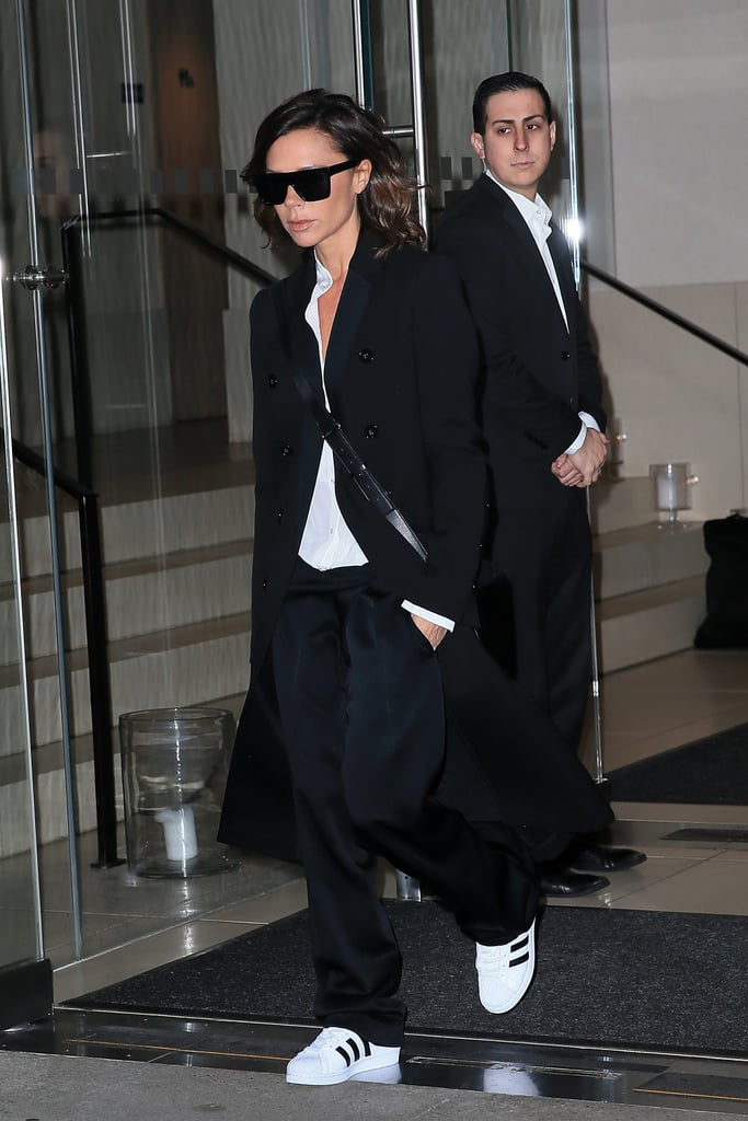 Victoria's Adidas Originals Samba sneakers have also made an appearance in her Winter wardrobe. She styled these with loose trousers, a duster coat, and a crossbody bag during Fashion Week in February 2017.