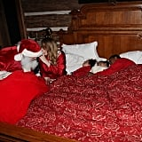 She had Santa Claus surprise her children in bed in 2013.