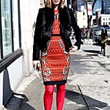 An eye-popping print was well suited for Winter with a black fur and a pair of equally bold tights.