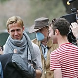 Ryan Gosling wrapped a shirt around his neck on the set of Lawless.