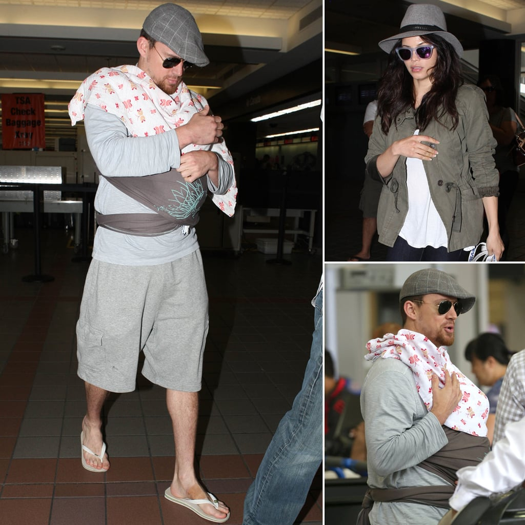 Doting Dad Channing Tatum Cradles Everly at the Airport With Jenna Dewan