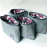 Grey and Purple Monogram Makeup Bags (set of 6), approx $306