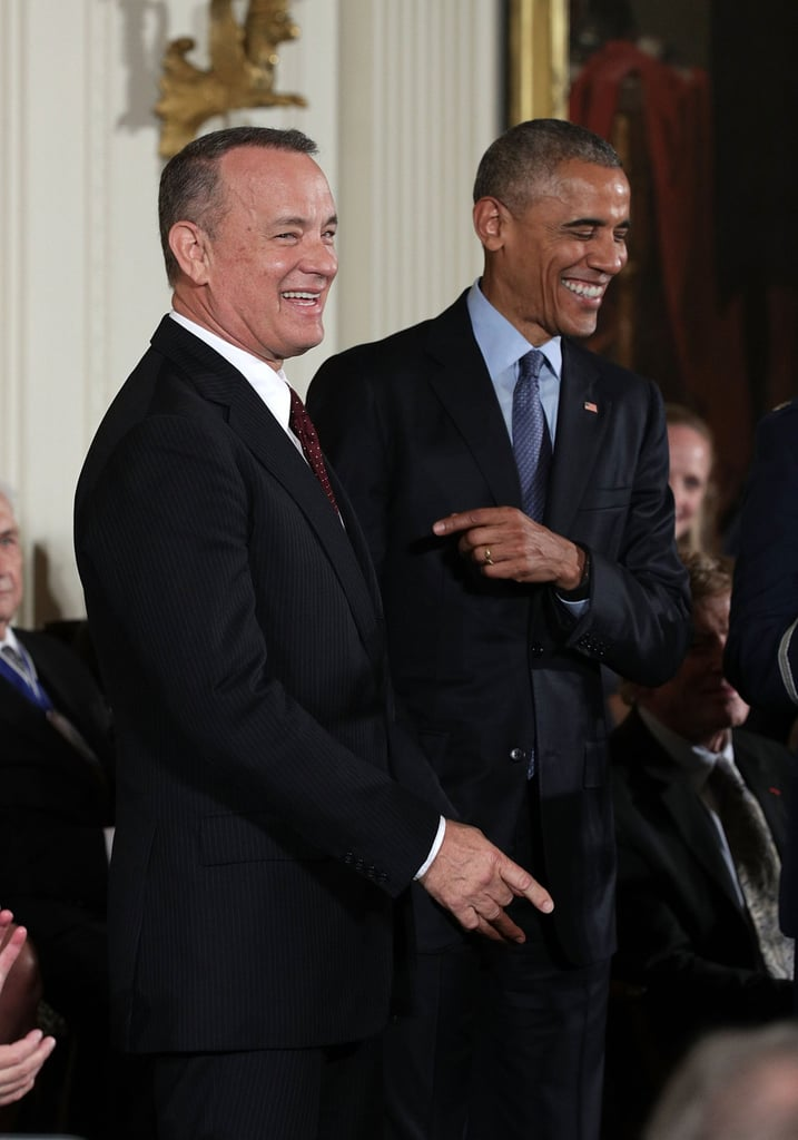 """The Medal of Freedom ceremony, which honors individuals who have made """"especially meritorious contributions to the security or national interests of the United States, to world peace, or to cultural or other significant public or private endeavors,"""" also included honoree Tom Hanks."""