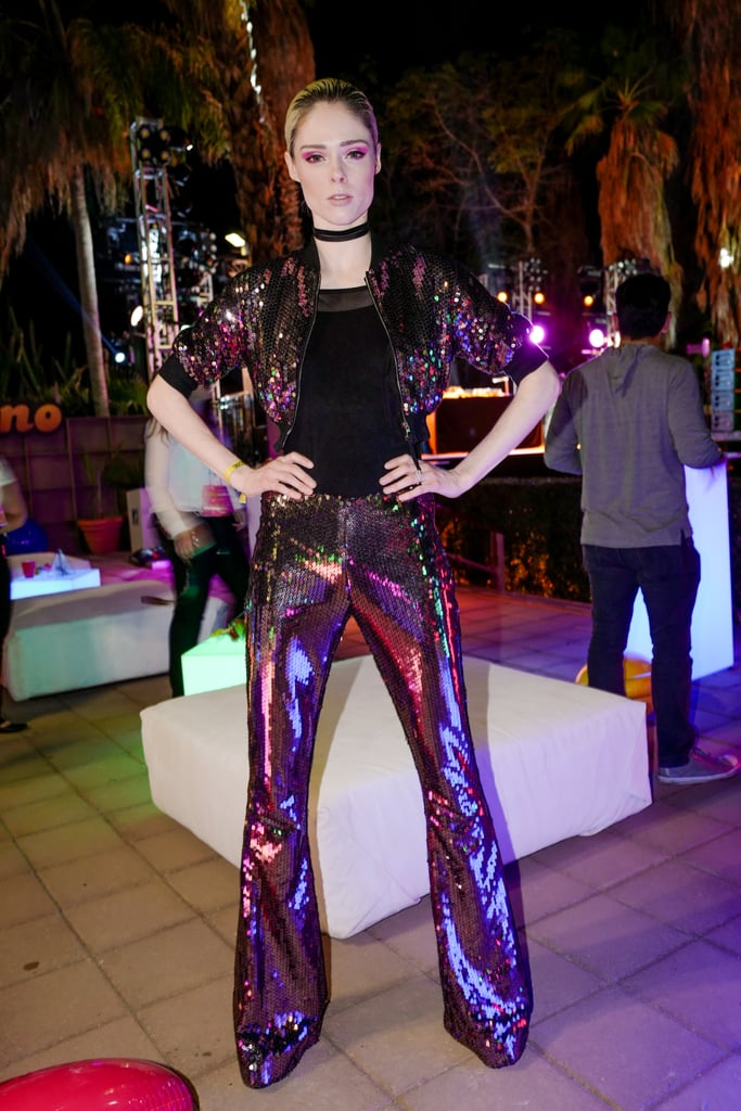 Coco Rocha wearing a sequinned suit at the Moschino x Candy Crush Desert party.