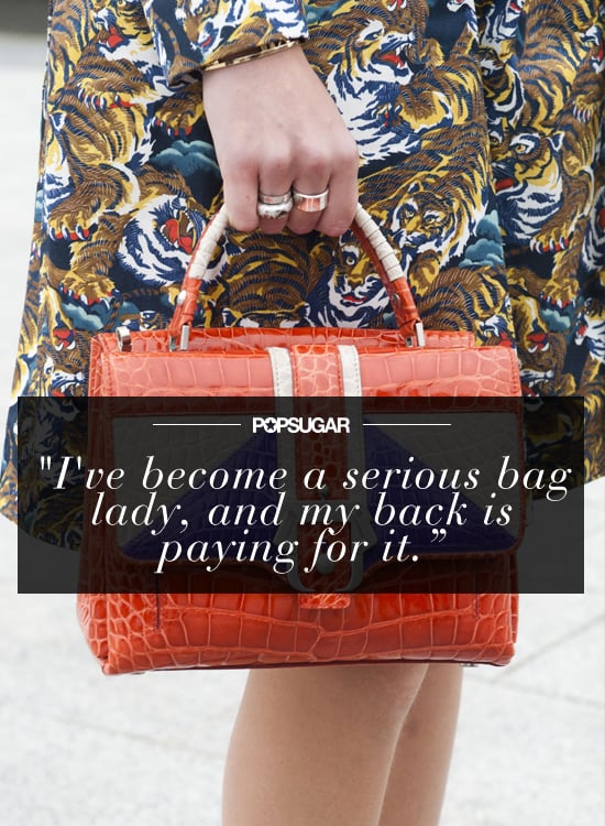 """""""I've become a serious bag lady, and my back is paying for it. In the name of health, I resolve to ditch the massive totes in favor of quite-literal handbags."""" — Kate Schweitzer, editor"""