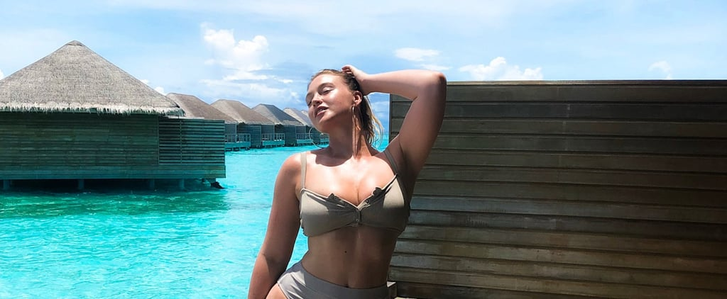 Iskra Lawrence Gray Button-Up Aerie Bikini