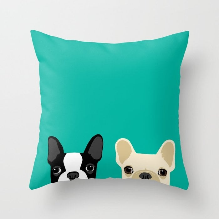 Boston Terrier and French Bulldog Throw Pillow
