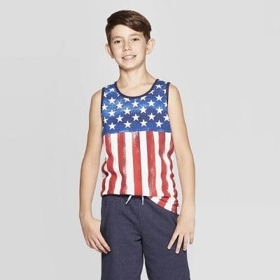 Boys' American Flag Sleeveless Tank Top