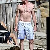 Eric Dane went shirtless on the beach in Malibu.