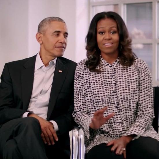 Michelle Obama Black and White Printed Button-Down