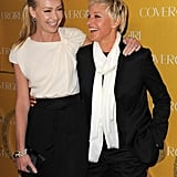 Portia shared a laugh with Ellen at CoverGirl's 50th anniversary party in LA in January 2011.