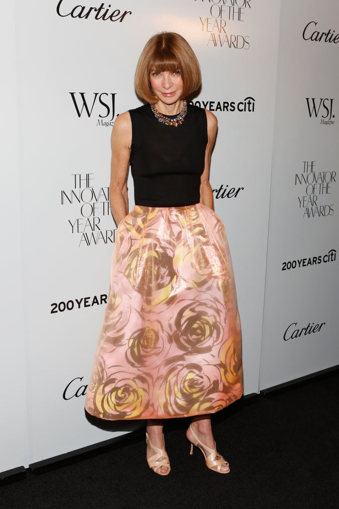 Anna Wintour in Pink Floral Dior Skirt