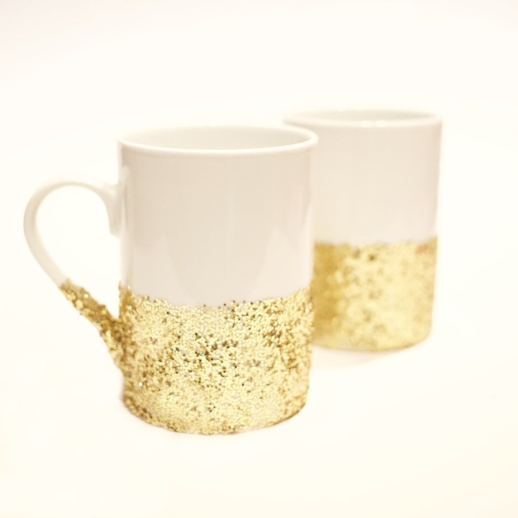 DIY Glitter-Dipped Mugs