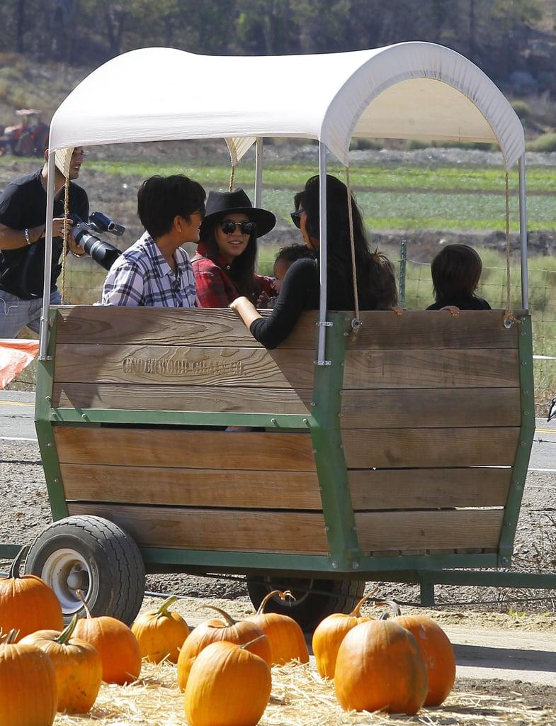 Kim Kardashian and North West at a Pumpkin Patch | Photos