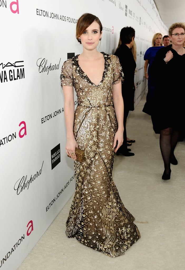 Emma Roberts attended Elton John's Oscar party in LA.