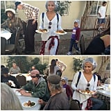 Christina Milian and her daughter, Violet, served food at a homeless shelter.